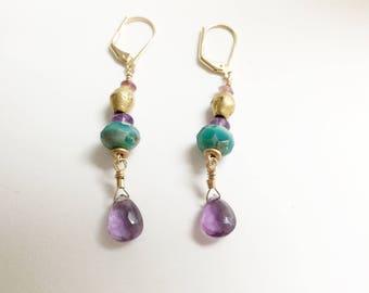 Amethyst Briolettes and Czech Rondelle Earrings