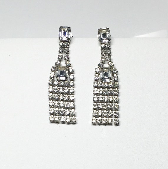 Vintage Tassel Rhinestone Earrings, vintage pierce
