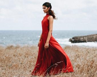 82d6dc6f5079d3 Abendkleid rot Viskose Maxikleid ärmellos mit Taschen