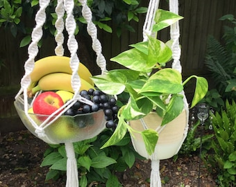 Macrame Kit Plant Hanger with or without Beads. Tutorial . Learn 3 knots to make designer plant hangers for indoors or out.  UK.  Free post