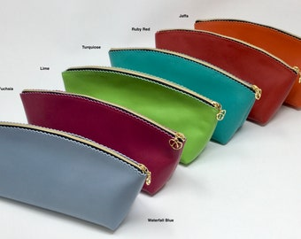 Leather Cosmetic Purses in Italian Softee Leather with a crimped edge design. Generous size. They match the coin purses. Free UK Shipping