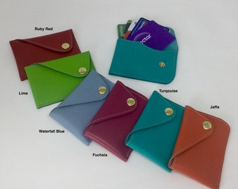 Leather Credit Card Holder. Business/Club Card/ID Card.Secure Press Button. Either 6 Credit, 8 Loyalty, 15 Bus Cards or combination Free P&P