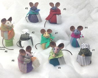 Cute Winter Mice made from a variety of tweeds - Harris, Shetland and Donegal with either felted or knitted accessories.  Free Shipping