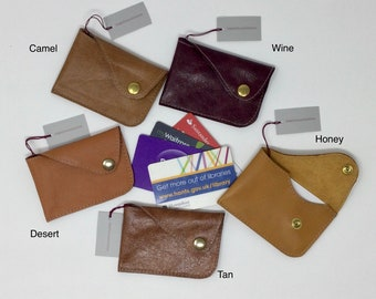 Leather Credit Card Holder. Business/Club Card/ID Card.Secure Press Button. Either 6 Credit, 8 Loyalty, 15 Bus Cards or combination.