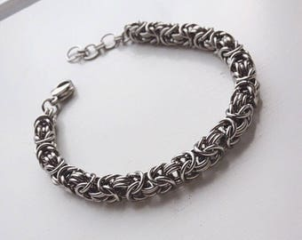 Stainless Steel Byzantine Bracelet, Silver Chainmaille Jewelry, Cool Mens Bracelet, Silver Chain Link Bracelet, Steel Bracelets for Men Gift