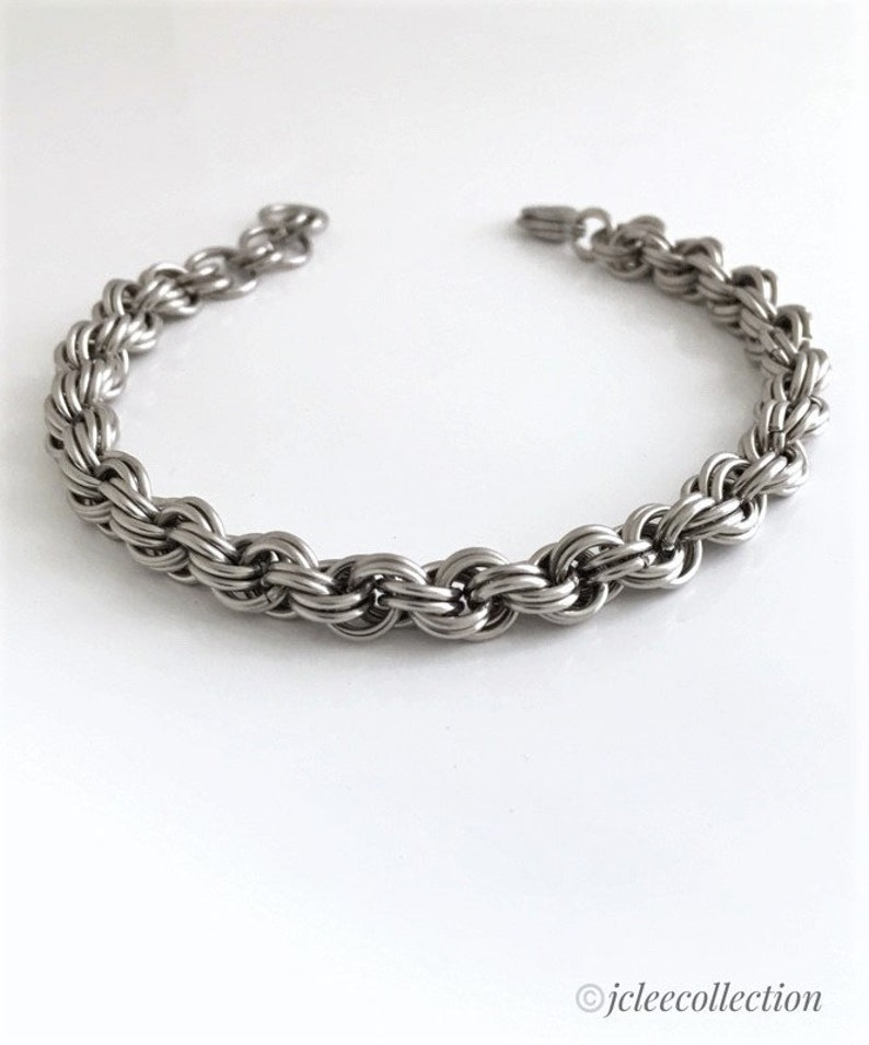 Artisan Designer Spiral Vortex Chainmail Bracelet Steel Anniversary Gifts for Her 11th Anniversary 11 Years Together Gift For Wife Partner