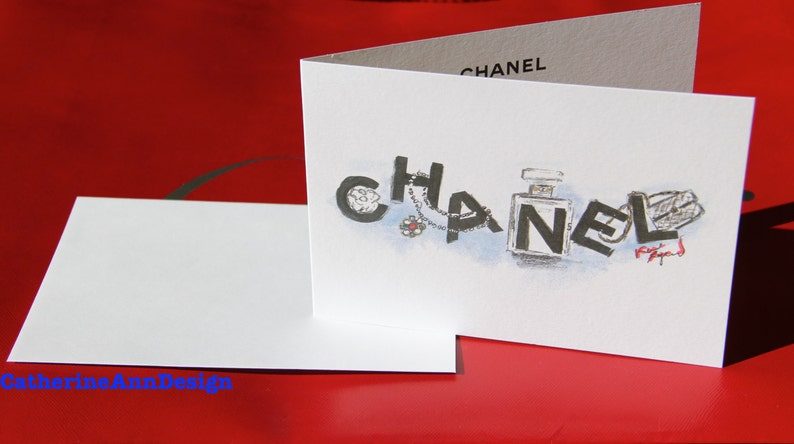 24bc0d88320a54 Authentic Chanel VIP Card Karl Lagerfeld Art sketch | Etsy