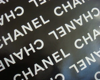 """100% Authentic Chanel Black and White CHANEL Logo Gift Wrapping Paper 36"""" x 18"""""""
