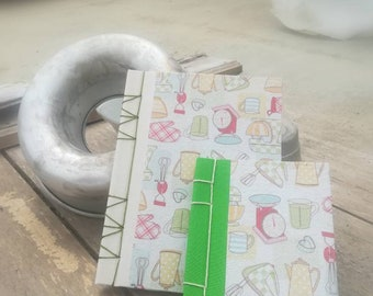 Hand-bound recipe in recycled paper