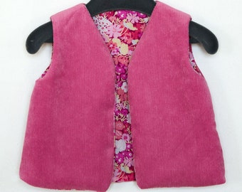 434c2ccfd Pink velvet sleeveless vest / Printed cotton lining / size 6 months