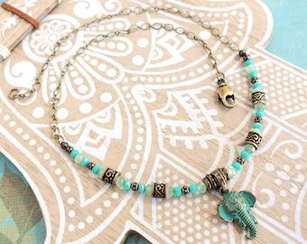 Patinaed Elephant Beaded Necklace