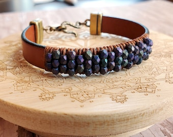 Metallic Iris Beaded Leather Bracelet