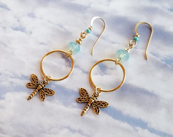 Dainty Golden Dragonfly Earrings