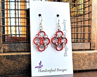 Red and Silver Parallel Weave Chainmaille Earrings