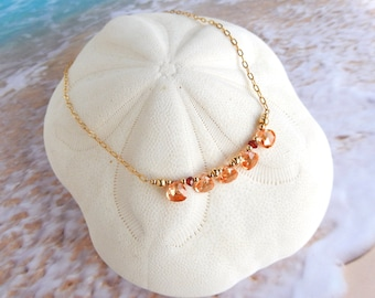 Sparkling Peach Champagne Briolette Necklace