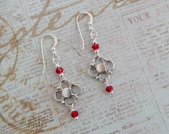 Silver and Red Crystal Quattrefoil Dangles