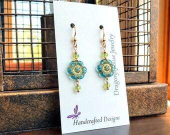 Petite Pale Blue Glass Flower Earrings