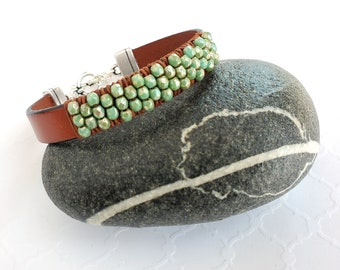 Leather and Czech Turquoise Glass Beaded Bracelet