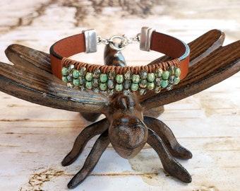Sparkling Aqua and Turquoise Beaded Leather Bracelet