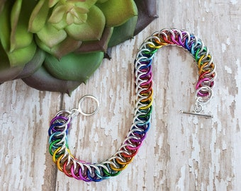 Love is Love Rainbow Half Persian Chainmaille Bracelet