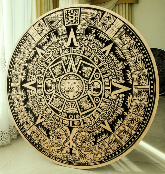 Calendrier Maya Dessin.Calendrier Maya 1150mm Original Mural En Bois Decor