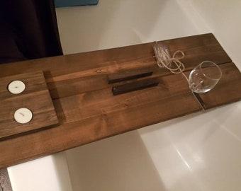Rustic Wood Bath Caddy/ Tub Table