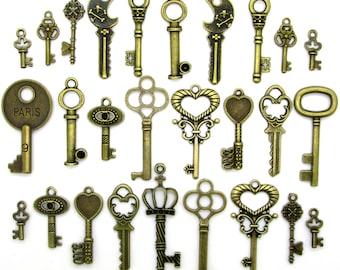 27 Bronze Plated Skeleton Keys FREE Large Bonus Key Metal Charms for Bracelet Necklace Antique Look Steampunk Jewelry Set of 27