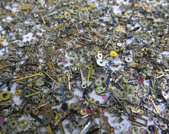 SALE 10 Gram Very Small Old Watch Parts Pieces Lot Vintage Lots of Jewels, Hands, Cogs, etc. Steampunk Jewelry Wedding Nail Art Supply