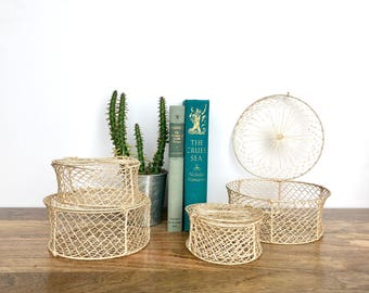 Six Vintage Nesting Baskets - Delicate Woven Lace Straw Baskets with Lids - Home Decor/Storage