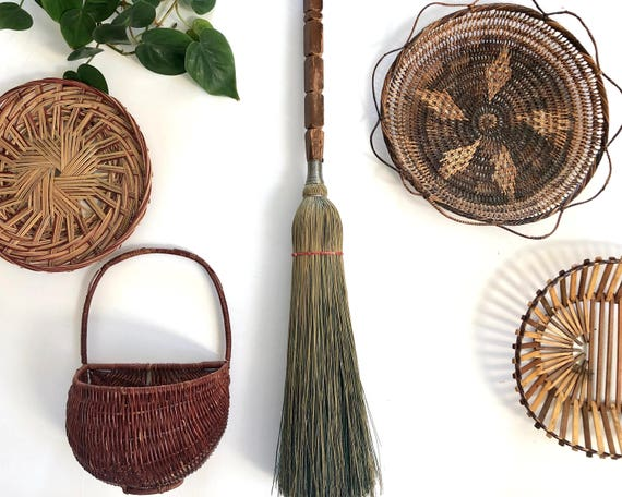 Vintage Broom Whisk Broom With Wood Handle Fireplace Broom Etsy