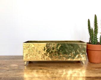 Vintage Planter | Long Brass Hammered Pot | Boho Home Decor