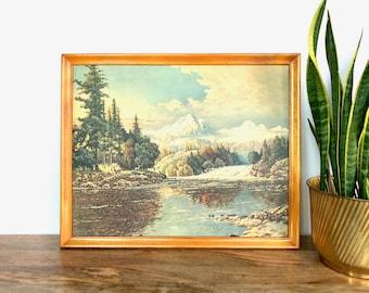 Vintage Print | Scenic Mountain Lake Painting Print | Wood Frame | Scenic Wall Art | Home Decor