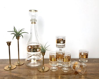 Vintage Liqueur Set | Clear with Gold Detail Decanter and Six Glasses | Barware, Serveware