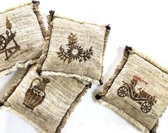 Vintage Pillows | Set of Four Crewel Art Pillows | Fringed Edge Decorative Pillows | Home Decor