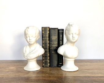 Vintage Bust Molds | White Ceramic Boy and Girl Head Figurines | Shelf Decor, Book Ends