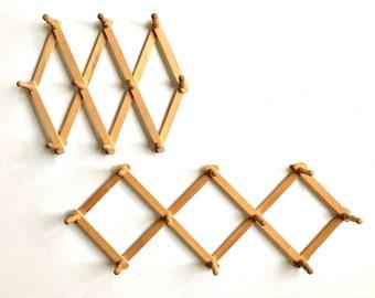 Vintage Rack | Wooden Accordion Peg Hanger | Wall Decor