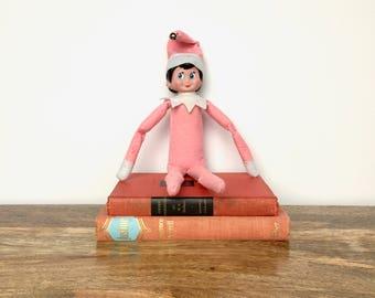 Vintage Christmas Elf  - Large Stuffed Pink Pixie - Christmas Decor