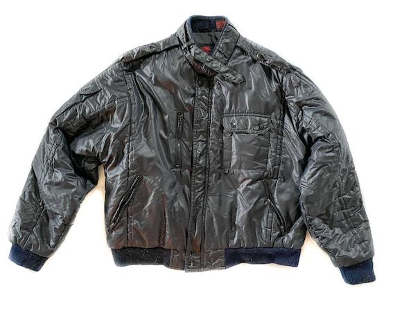Vintage Coat | Large Black Puffer Bomber Jacket |