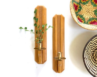 Vintage Candle Sconces | Wooden Candle Wall Hanging | Home/Wall Decor