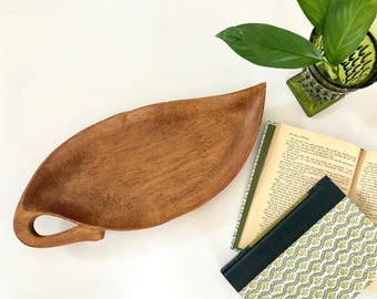 Vintage Tray - Wood Leaf-Shaped Tray - Boho Serveware, Home Decor