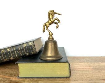Vintage Bell | Brass Unicorn Bell | Miniature Figurine Collectible | Shelf/Home Decor