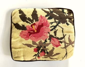 Vintage Pillow | Embroidered Hibiscus Flower Throw Pillow | Decorative Pillow | Hawaiian/Tropical Home Decor