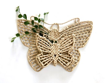 Vintage Wall Hanging | Woven Raffia Butterfly Basket | Woven Wall Art | Boho Home Decor