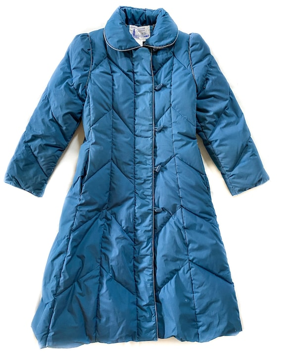 Vintage Coat | Small Long Blue Puffer Down Coat |
