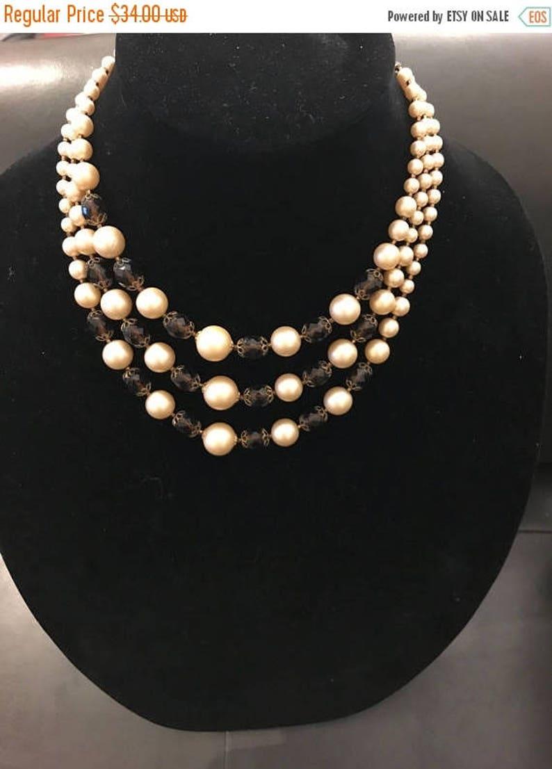 SALE Classic Vintage Brown /& Cream Three Strand Necklace
