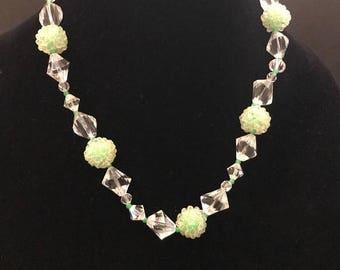 SALE Unique Vintage Sea Foam Green Crystal Beaded Necklace