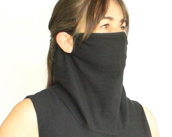Mask Shirt Tank With Attached Face Mask And Filter Pocket Black Shirt Sleeveless Cowl Neck Cotton Spandex Women's