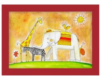 Grupo de infantil de animales, zoológico, dibujo, cuadro dibujado, pintura de acuarela de la mano, imprimir, imagen, marco, marco de madera de color, impresión, arte A4