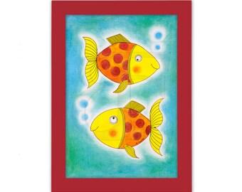 Dos peces de oro felizes, zodiac, dibujo infantil, cuadro dibujado de la mano, acuarela, impresión, imagen, marco, marco de madera de color, impresión de Bellas Artes, A4