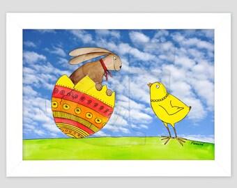 Conejito feliz y chick, niño dibujo cuadro dibujado, pintura de acuarela de la mano, imprimir, imagen, marco, marco de madera de color, impresión, arte A4